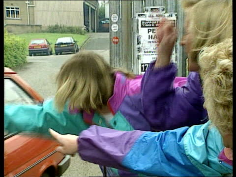 dundee timex factory tcms injured female picket being helped to her feet by fellow pickets in injured policeman standing in b/g cms pickets around... - dundee scotland stock videos & royalty-free footage