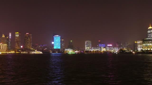 Timlapse night  Pan  Shot from the Bund, Huangpu River, Hongkou, Huangpu, The Bund, view from Pudong, night, city lights, Shanghai, China