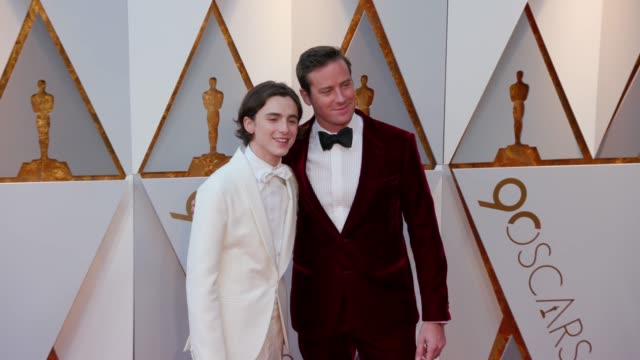 timothée chalamet and armie hammer at dolby theatre on march 04 2018 in hollywood california - armie hammer stock videos & royalty-free footage