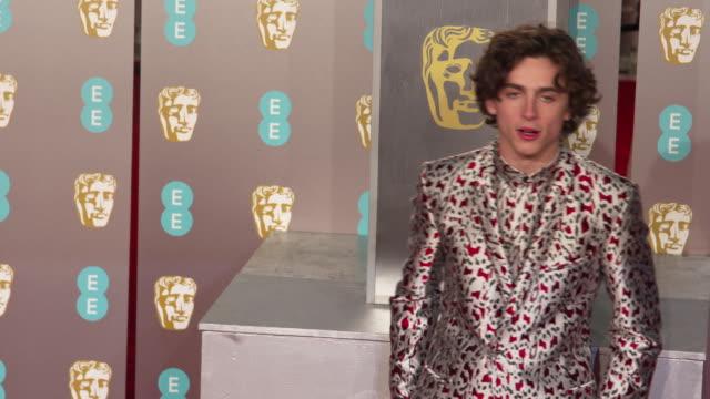 timothée chalamet at ee british academy film awards 2019 at royal albert hall on february 10 2019 in london england - 英国アカデミー映画賞点の映像素材/bロール