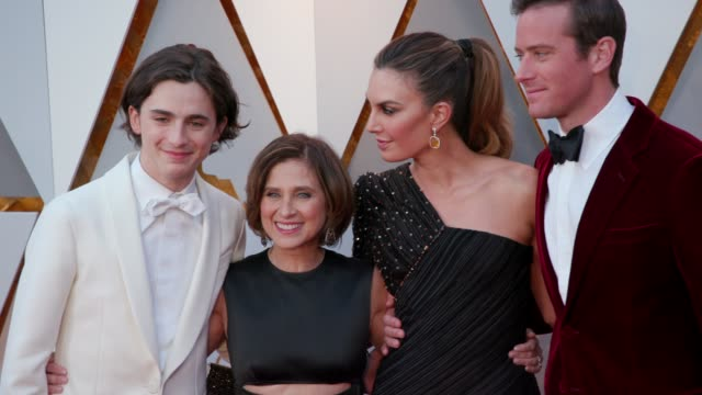 timothée chalamet nicole flender elizabeth chambers and armie hammer at 90th academy awards arrivals at dolby theatre on march 04 2018 in hollywood... - armie hammer stock videos & royalty-free footage