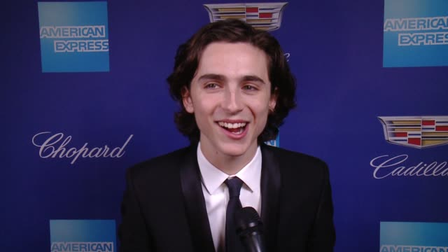 INTERVIEW Timothée Chalamet on receiving an award and encouragement at the 29th Annual Palm Springs International Film Festival Awards Gala at the...