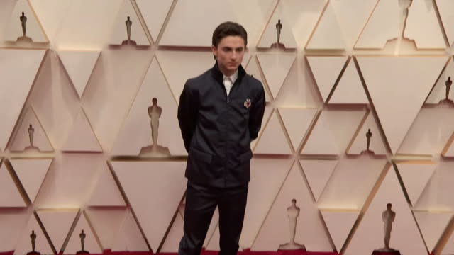timothee chalamet walking the red carpet at the 92nd annual academy awards at the dolby theater in los angeles, california. - music or celebrities or fashion or film industry or film premiere or youth culture or novelty item or vacations 個影片檔及 b 捲影像