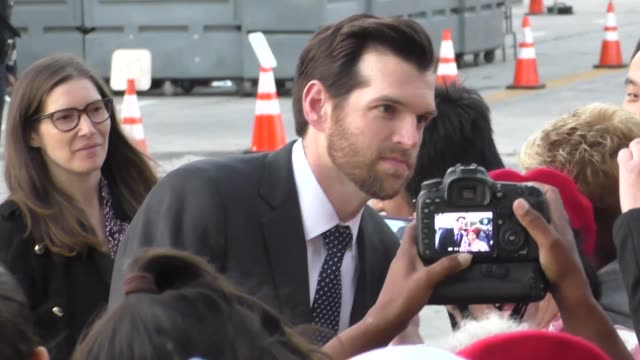 vídeos de stock e filmes b-roll de timothy simons greets fans at the boss premiere at regency village theatre in westwood celebrity sightings on march 28 2016 in los angeles california - westwood village