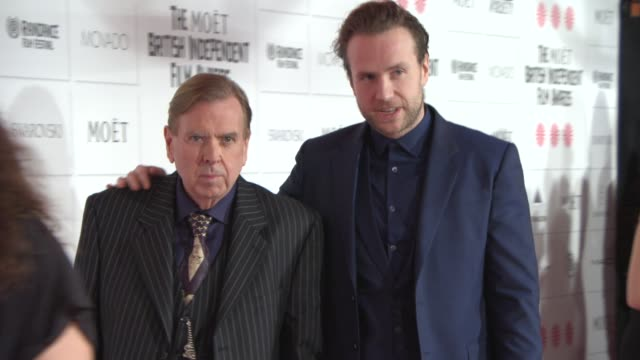 timothy spall rafe spall at the moet british independent film awards 2014 at old billingsgate market on december 07 2014 in london england - audio electronics stock videos & royalty-free footage