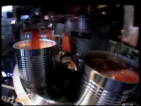 Tin cans on production line being filled with baked beans