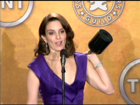 tina fey on conan o'brien leaving 'the tonight show' at the 16th annual screen actors guild awards press room at los angeles ca - conan o'brien stock videos and b-roll footage