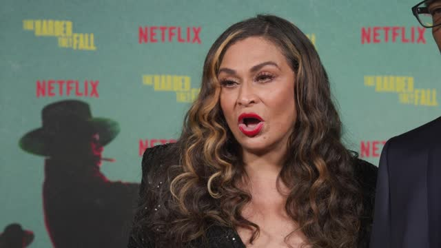 tina knowles & richard lawson on looking forward to seeing the film, why its great to see the evolution of the western genre and being proud of her... - shrine auditorium stock videos & royalty-free footage