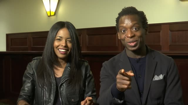london int adrienne warren and kobna holdbrooksmith interview sot down 'aldwych theatre' with 'tina' posters - aldwych theatre stock videos & royalty-free footage
