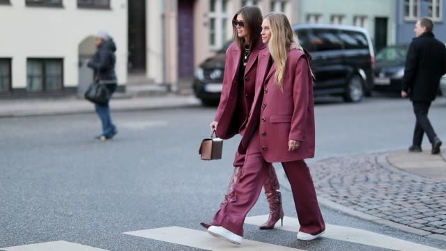 Tine Andrea and Darja Barannik are seen wearing matching suit outside Mykke Hofmann during the Copenhagen Fashion Week Autumn/Winter 2019 Day 1 on...