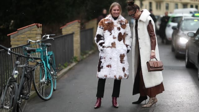 stockvideo's en b-roll-footage met tine andrea wearing white fur coat with pattern and darja barannik wearing sleeveless coat seen outside by malene birger during the copenhagen... - week