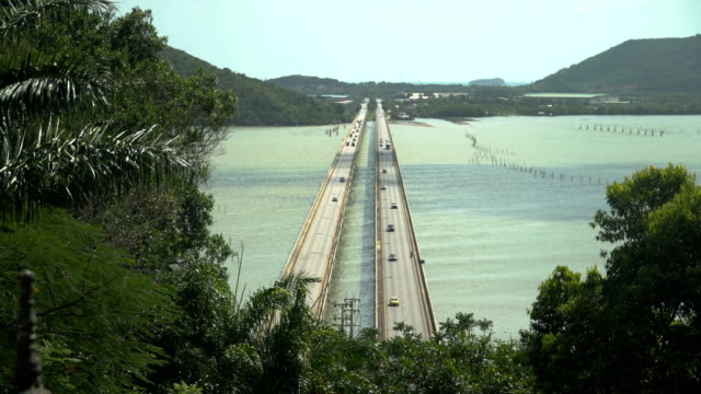 tinsulanonda bridge concrete bridge are long way in thailand. - songkhla province stock videos and b-roll footage