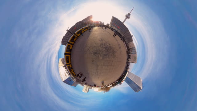 tiny planet berlin alexanderplatz - 360° time lapse - 360 video stock videos & royalty-free footage