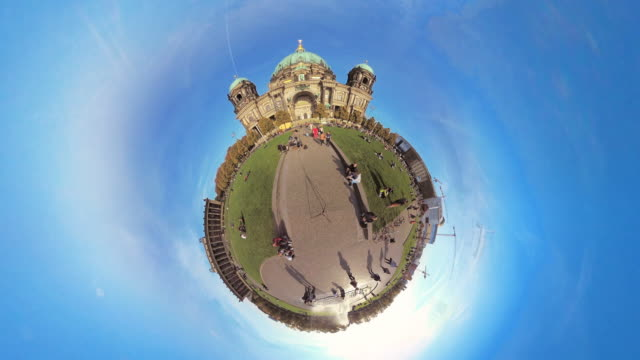 tiny planet berlin cathedral- 360° time lapse - spoonfilm stock-videos und b-roll-filmmaterial