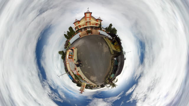 tiny planet church in indonesia - 360° time lapse - abstract stock videos & royalty-free footage