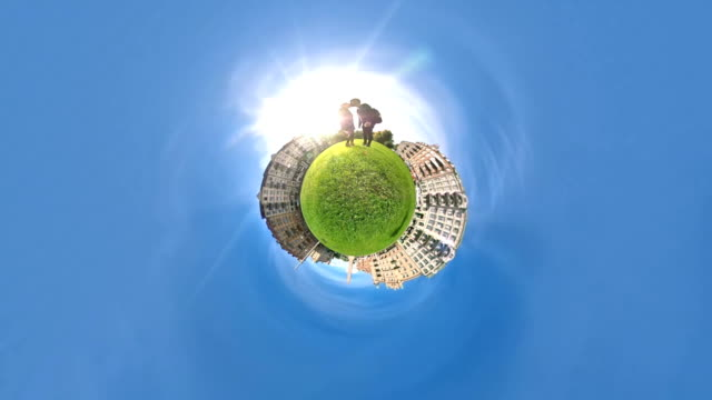 tiny planet couple travel - 360 video stock videos & royalty-free footage