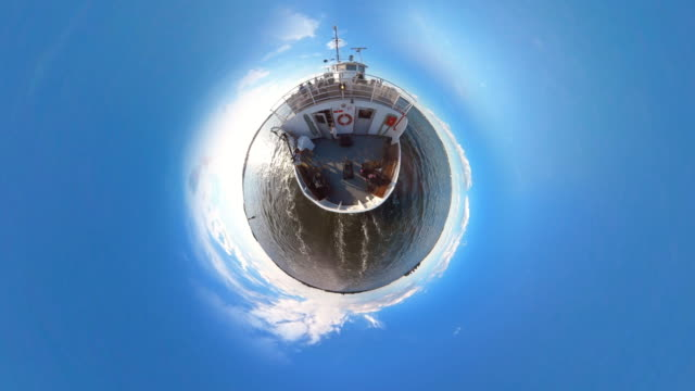 tiny planet ferry - 360° - 360 grad panorama stock-videos und b-roll-filmmaterial