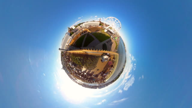 tiny planet helsinki allas cafe and ferris wheel - 360° time lapse - small stock videos & royalty-free footage