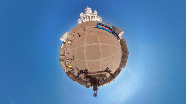 tiny planet helsinki cathedral - 360° time lapse - 新古典派点の映像素材/bロール