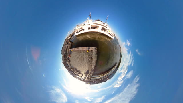 tiny planet helsinki harbor - 360° time lapse - 360 grad panorama stock-videos und b-roll-filmmaterial
