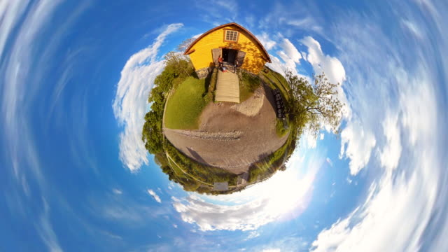 tiny planet helsinki suomenlinna finnish wood house - 360° time lapse - panoramic stock videos & royalty-free footage