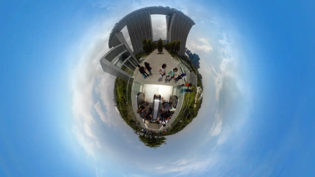 tiny planet  marina bay sands singapore - 360° time lapse - adn stock videos & royalty-free footage