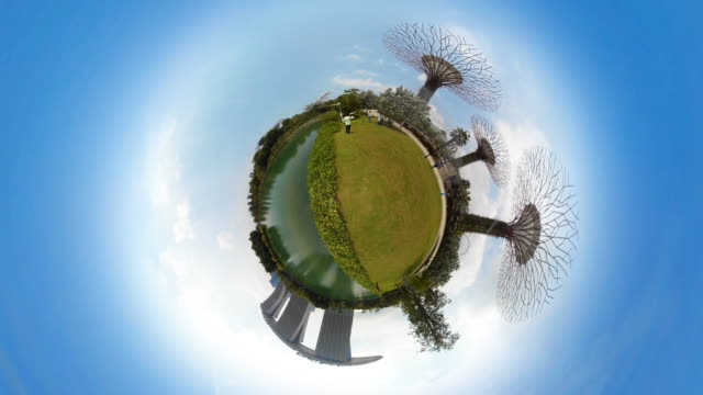 tiny planet singapore - 360° time lapse - spoonfilm stock-videos und b-roll-filmmaterial