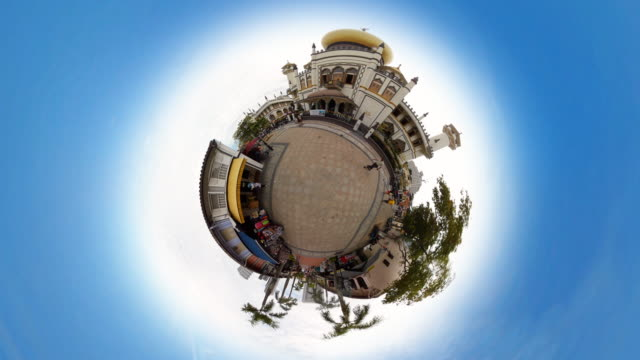 tiny planet singapore masjid sultan mosque - 360° time lapse - sultan mosque singapore stock videos and b-roll footage