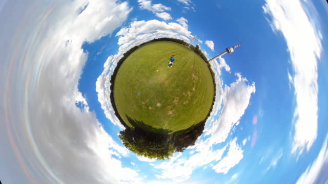 tiny planet tv tower vienna - 360° time lapse - small stock videos and b-roll footage