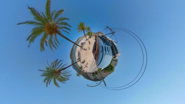 tiny planet view drive with tramway to port de soller shoot from tranvía de sóller ( ferrocarril de sóller ) - balearic islands majorca / spain - promenade stock videos & royalty-free footage