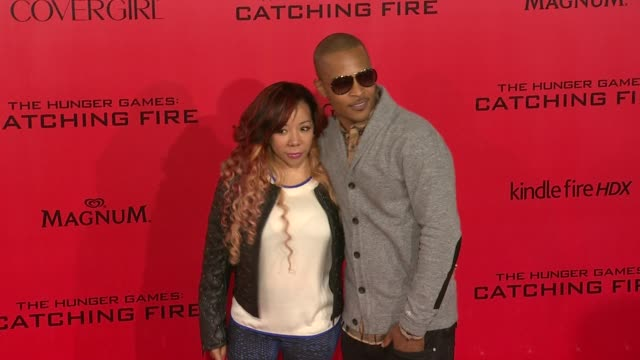 """tiny, t.i. at """"the hunger games: catching fire"""" los angeles premiere in los angeles, ca, on . - small stock videos & royalty-free footage"""