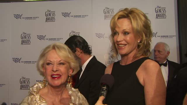 tippi hedren melanie griffith antonio banderas on receiving the genesis lifetime achievement award what melanie learned from her motherhow antonio is... - mother in law stock videos & royalty-free footage