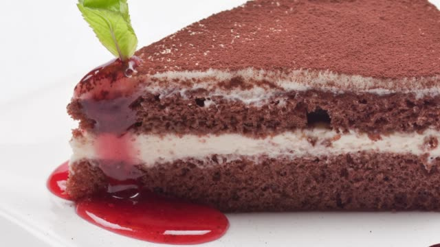 tiramisu dessert on white background - mint leaf culinary stock videos and b-roll footage