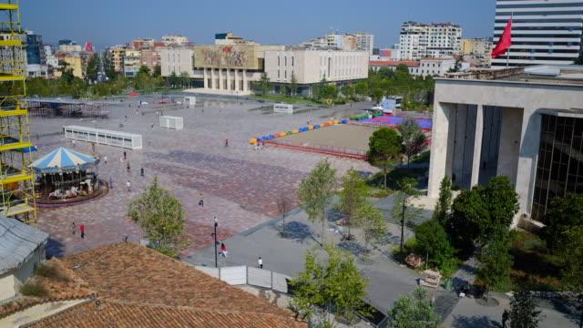 tirana center square - albania stock videos & royalty-free footage