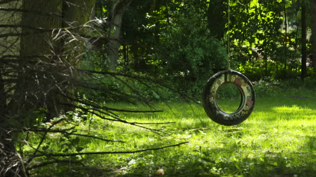 tire swing gently rotates - tyre swing stock videos & royalty-free footage