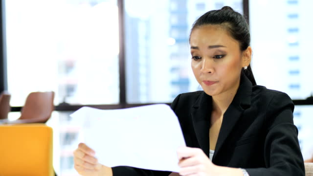 tired business woman suffering work stress wasted worried busy in office. - frustration asian failure stock videos & royalty-free footage