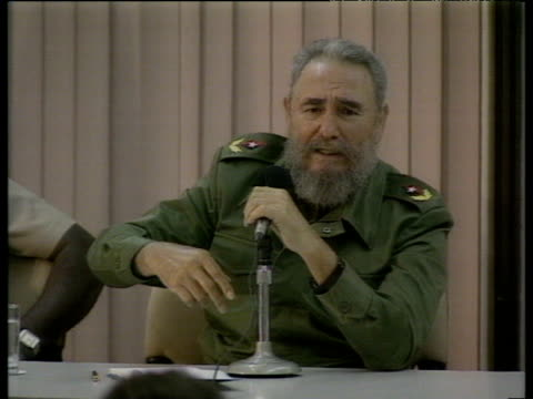tired looking president fidel castro at press conference says that 30 years as president - fidel castro stock videos and b-roll footage