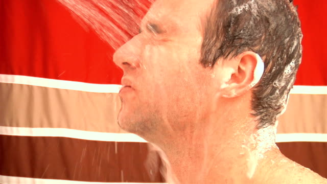 tired man in the shower (3 of 4) - shower curtain stock videos and b-roll footage