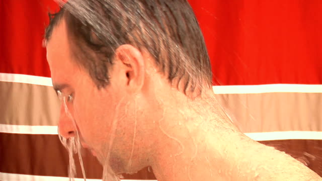 tired man in the shower (4 of four) - shower curtain stock videos and b-roll footage