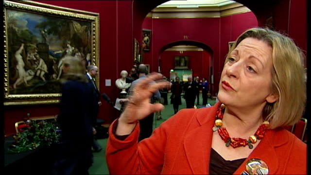 vidéos et rushes de titian saved for the nation after public appeal; close shots showing detail of 'diana and actaeon' painting linda fabiani msp interview sot - talks... - scottish culture