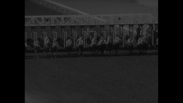 $146250 Florida Derby superimposed over two jockeys riding race horses towards Gulfstream Park race course / WS crowd on grounds of race course /...