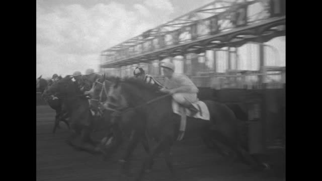 arlington classic nashua wins $148500 thriller superimposed over horses with jockeys coming onto the track from a tunnel / ws crowd / cu woman with... - starting gate stock videos and b-roll footage