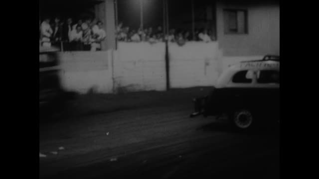 """title """"aussie drivers tempt death behind wheel"""" superimposed over ongoing stock car race with late model souped up automobiles, can hear narrator... - narrating stock videos & royalty-free footage"""