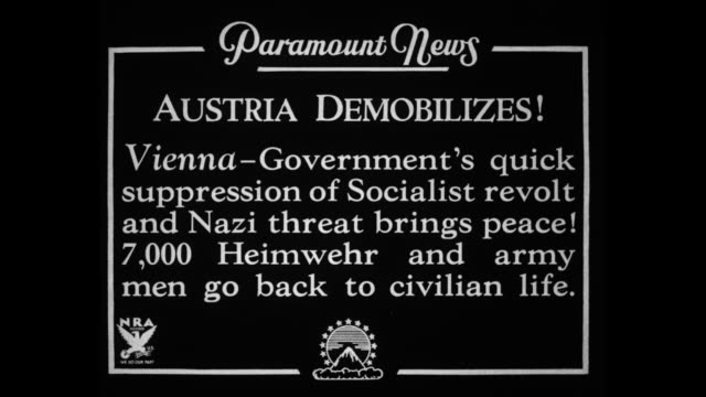 austria demobilizes vienna government's quick suppression of socialist revolt and nazi threat brings peace 7000 heimwehr and army men go back to... - demobilisation stock videos & royalty-free footage