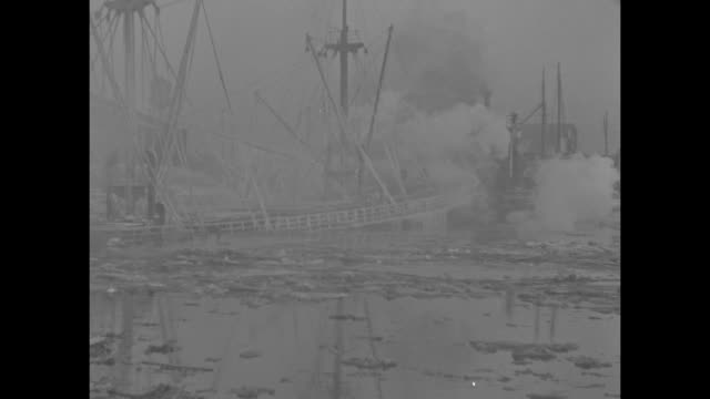 "vidéos et rushes de title ""baltimore, md."" superimposed over fire aboard ship at dock / vs freighter gisla sprayed by firemen, frozen water covers ship, dock, icicles... - maryland état"