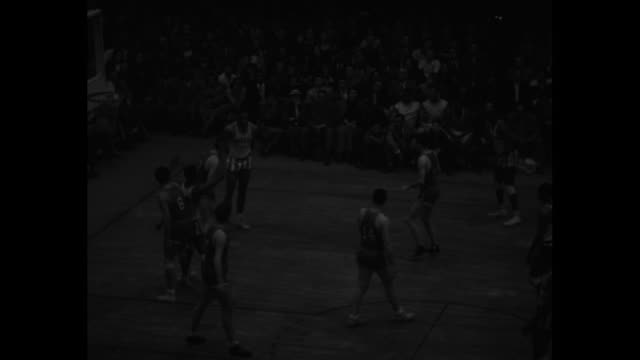 "disorder on the court"" superimposed over harlem globetrotters tossing ball around circle / crowd in stands / several action shots of game between... - ハーレムグローブトロッターズ点の映像素材/bロール"