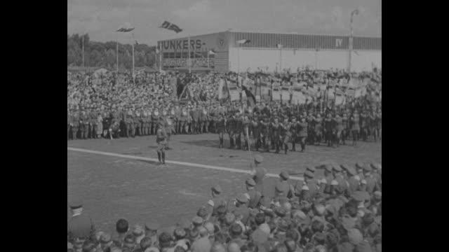 title card 100000 german veterans hail crown prince steel helmets carry imperial flags in demonstration that stirred europe / vs german military... - crown prince stock videos & royalty-free footage