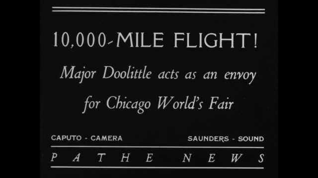 10000mile flight major doolittle acts as an envoy for chicago world's fair / two women working at world's fair stand on either side of maj jimmy... - chicago world's fair stock videos and b-roll footage