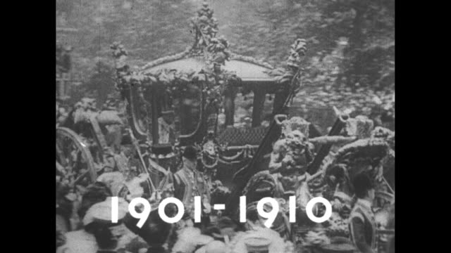 18371901 superimposed over queen victoria riding past crowds in carriage in turnofthecentury london / victoria in carriage / wipe title card 19011910... - windsor england stock videos and b-roll footage