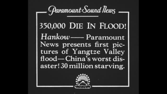 vídeos de stock e filmes b-roll de 350000 die in flood hankow paramount news presents first pictures of yangtze valley flood china's worst disaster 30 million starving / two aerial... - 1931